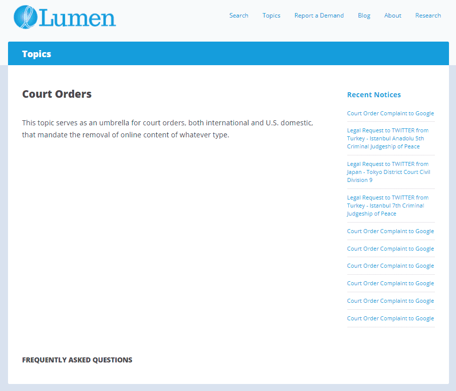 Lumen Court orders