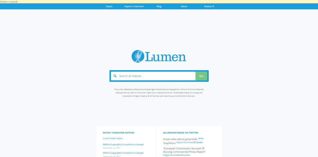 Lumen submitted notices