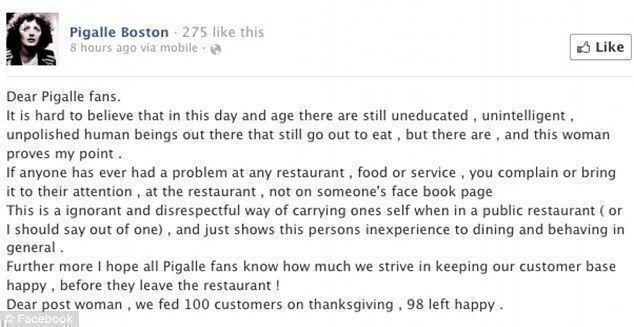 Pigalle Boston restaurant complaint