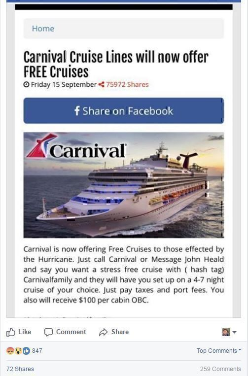 Carnival Cruise Line Facebook post