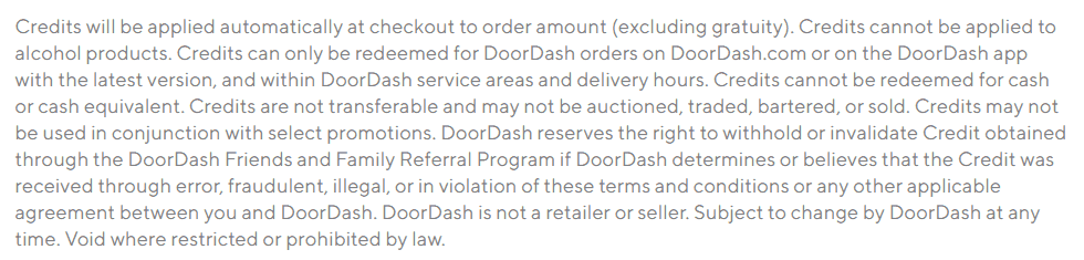 DoorDash Terms and Conditions about Credits