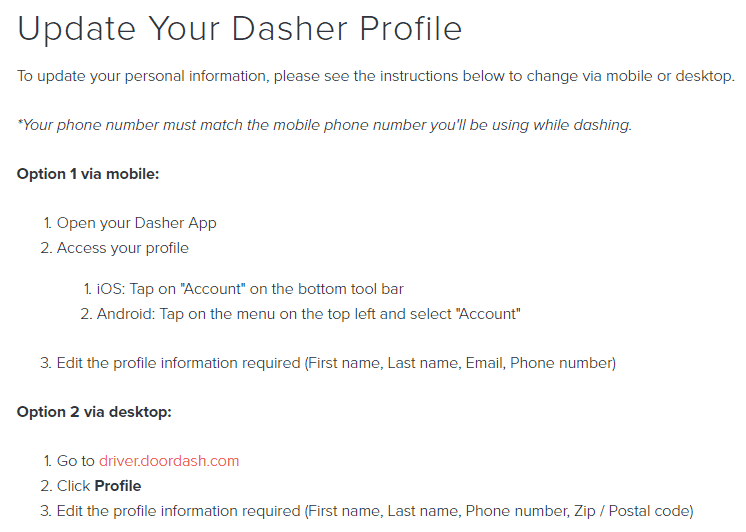 How to Update Dasher Profile