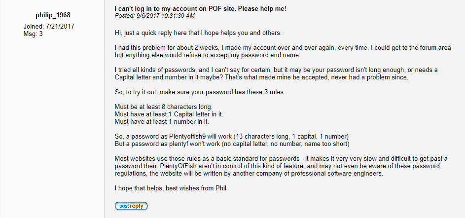 What to do if I can't log in to my PlentyOfFish account