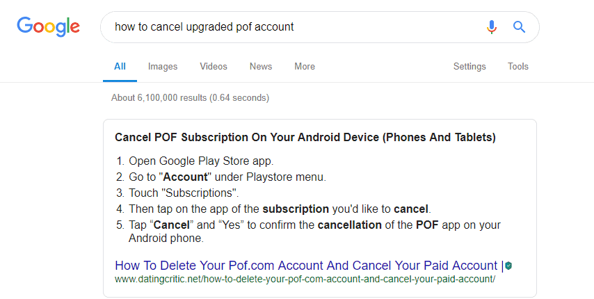 ow to cancel POF subscription