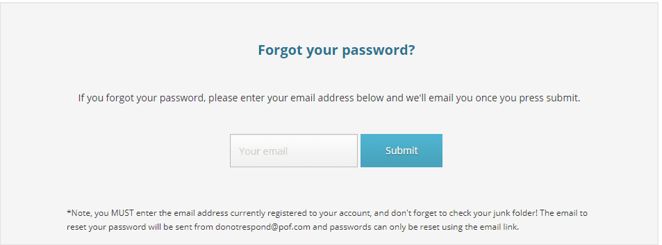How to reset POF (PlentyOfFish) password