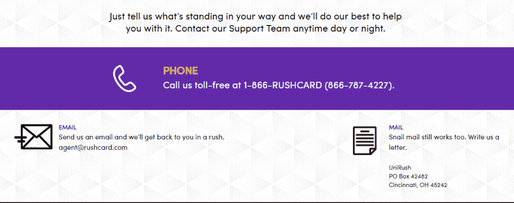 Rushcard toll free number