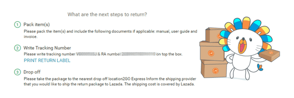 How to track a returned item on Lazada.com.ph