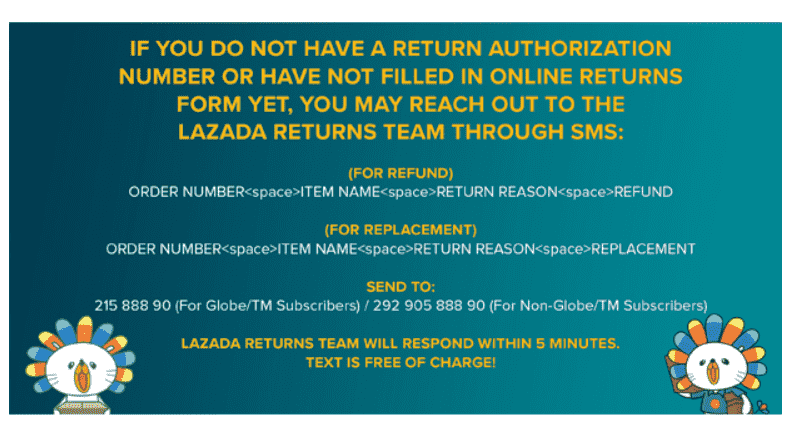 How to reach out to Lazada return team