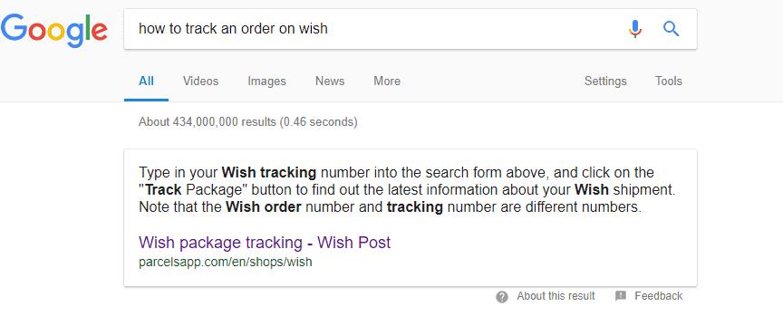 Wish order tracking