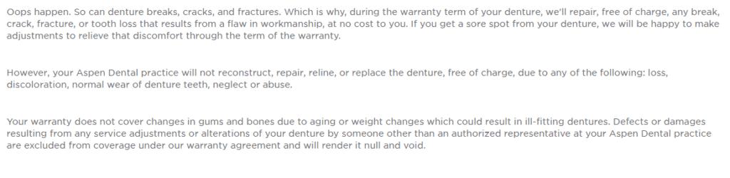 Aspen Dental denture warranties FAQs