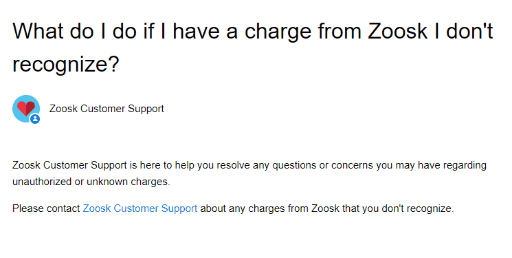 What to do with Zoosk unauthorized charges