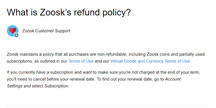 What is Zoosk's refund policy