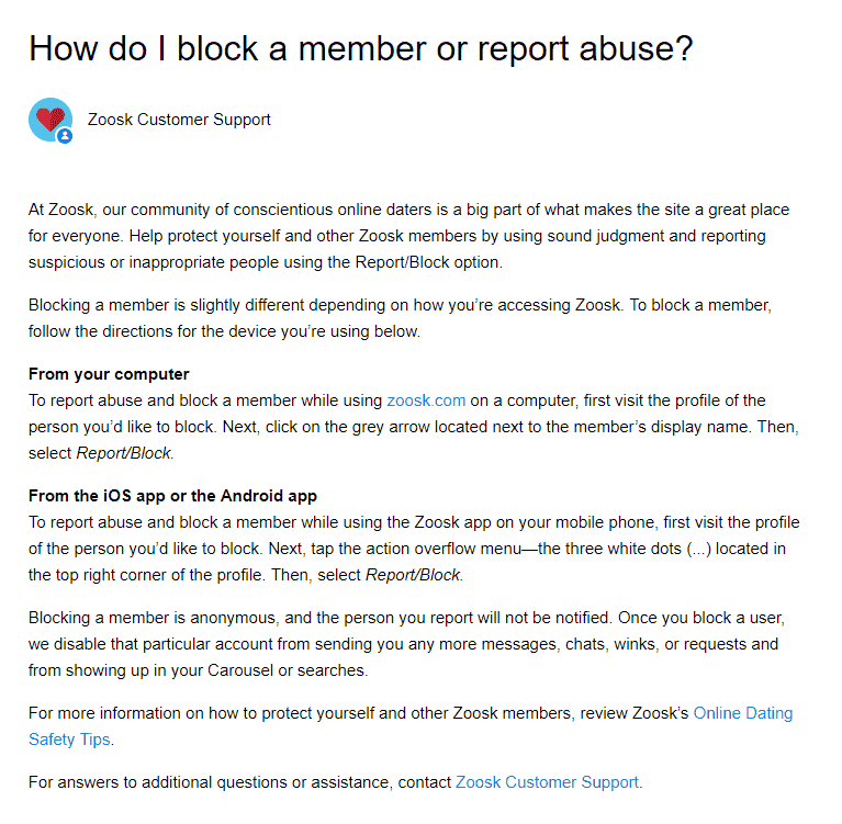 How to report absuse on Zoosk.com