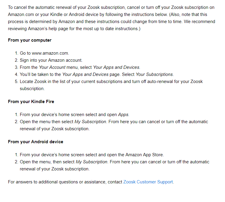 How to cancel Zoosk subscription via Amazon