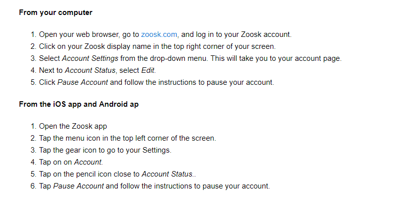 How to pause Zoosk account