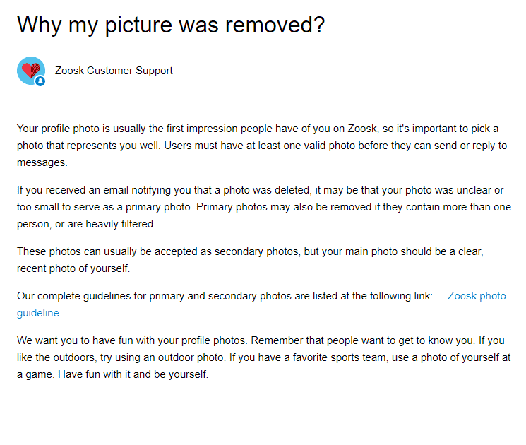 Why Zoosk removed the picture from my profile