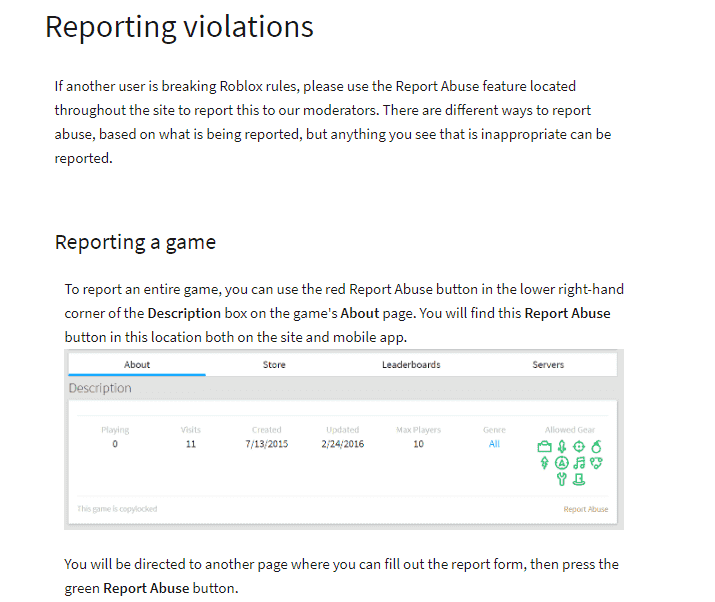 how to report Roblox violation