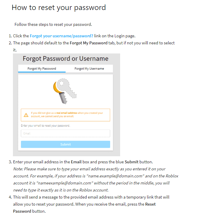 how to reset roblox password
