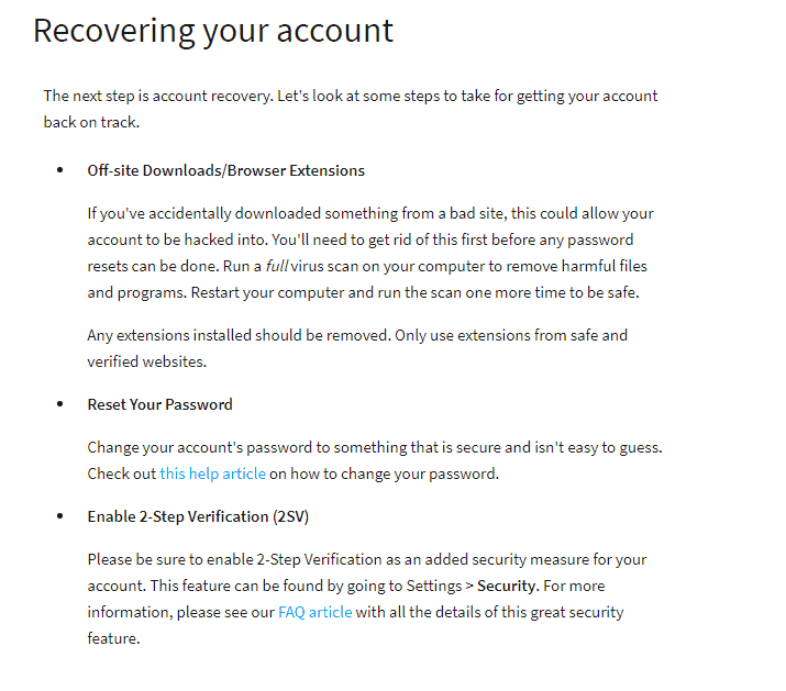 recover hacked roblox account