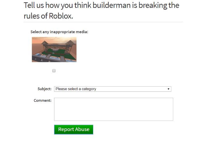 roblox report inappopriate media