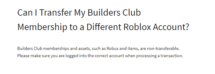 transfer Roblox Builders Club membership