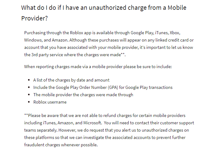 unauthorized Roblox charge from mobile provider
