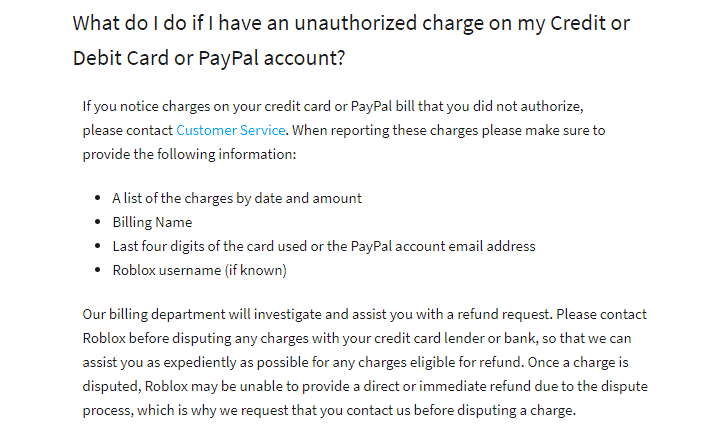 unauthorrized charges by Roblox