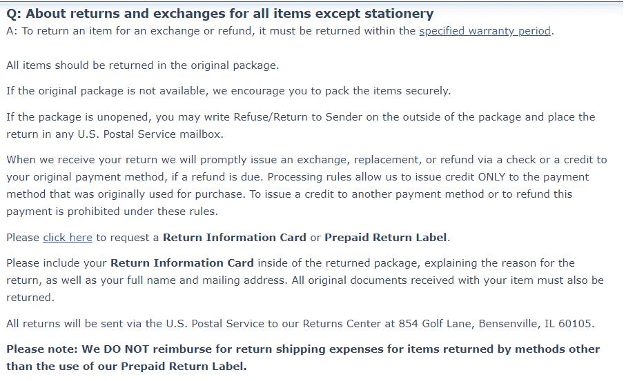 How to return and exchange an item on bradfordexchange.com