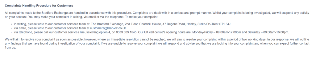 How to complain to bradford.co.uk