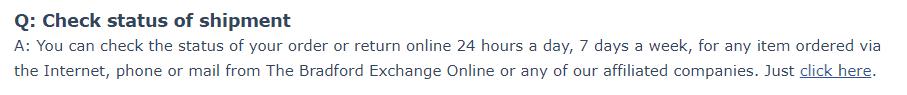 How to check the shipment status on BradfordExchange.com