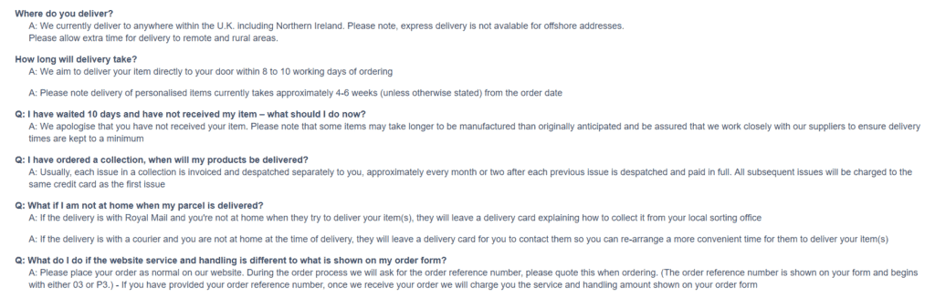 Bradford.co.uk delivery information