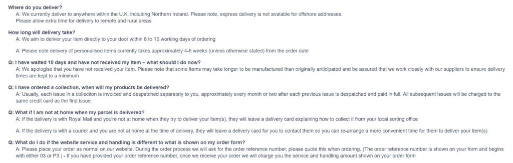 Bradford.co.uk delivery information