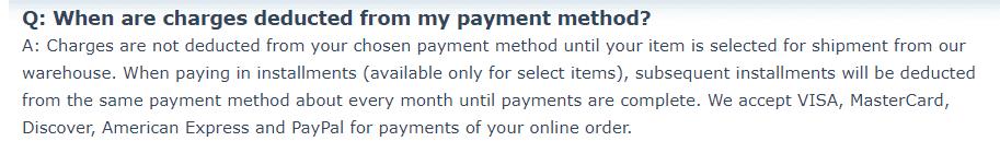The Bradford Exchange billing information