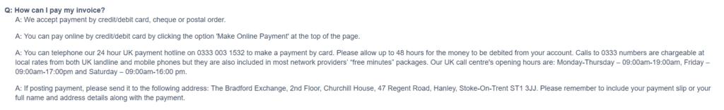The Bradford Exchange invoicing information