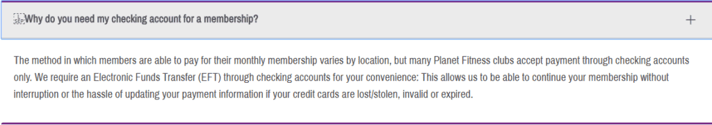 Why does Planet Fitness need access to my checking account?