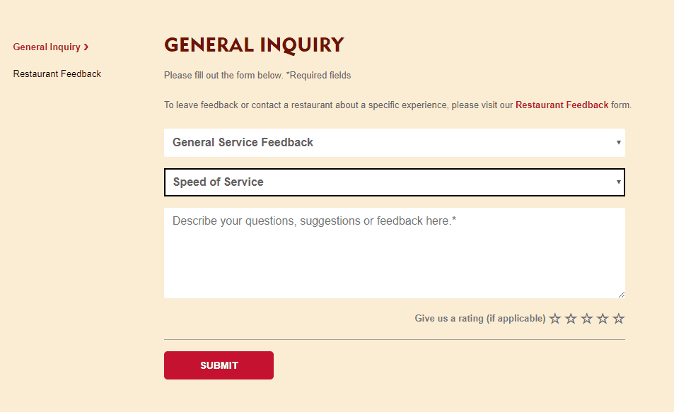 Popeyes general inquiry form