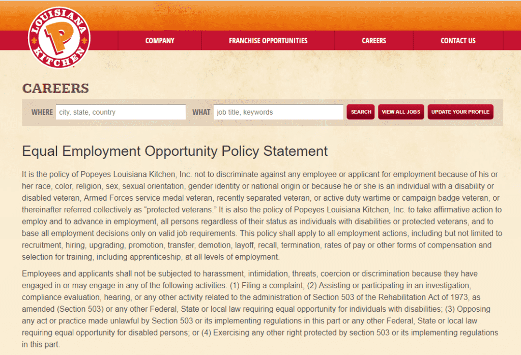 Popeyes' Equal Employment Opportunity