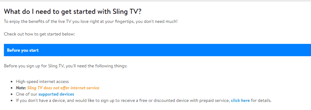 What I need to start with Sling TV