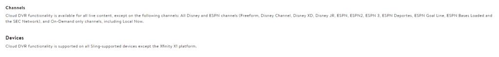 Sling TV DVR restrictions