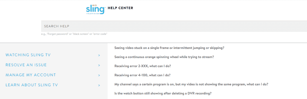 Sling TV help center