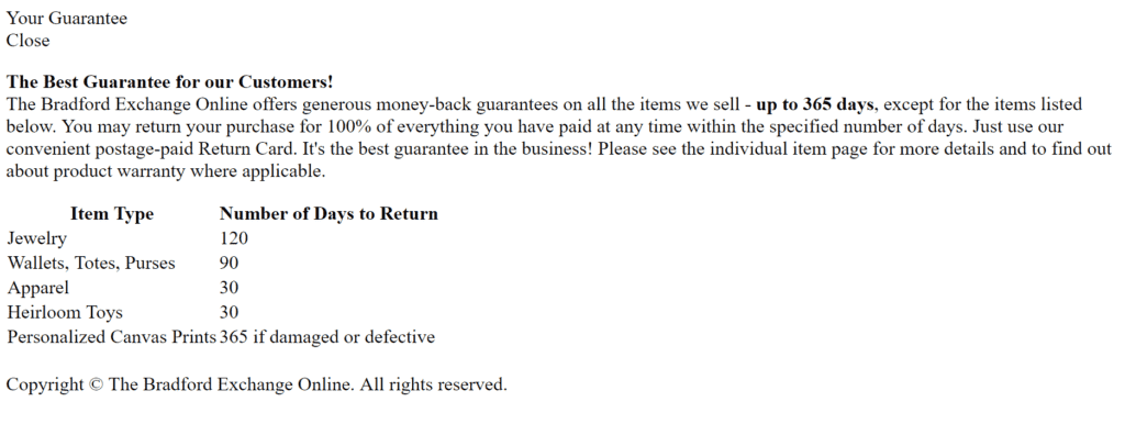 The Bradford Exchange return policy