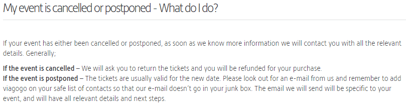 Viagogo canceled event