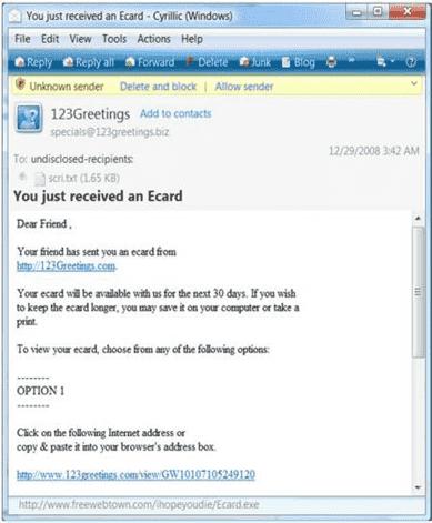 Christmas ecard scam