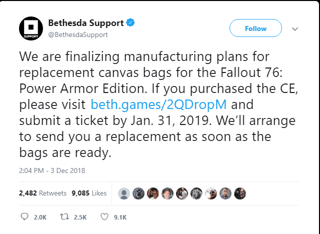 Bethesda Softworks canvas bag issues