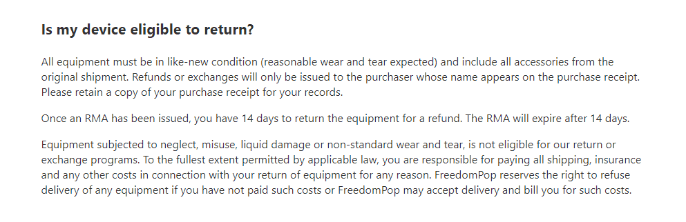 FredomPop return policy