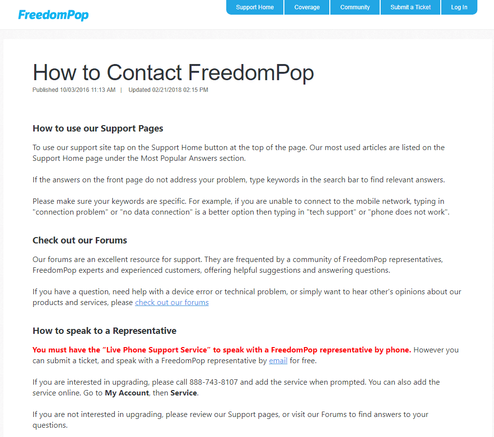 FreedomPop Customer Care and Support (ASSISTANCE with
