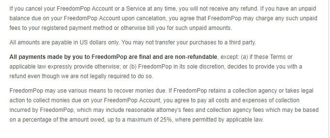 FreedomPop cancelation policy