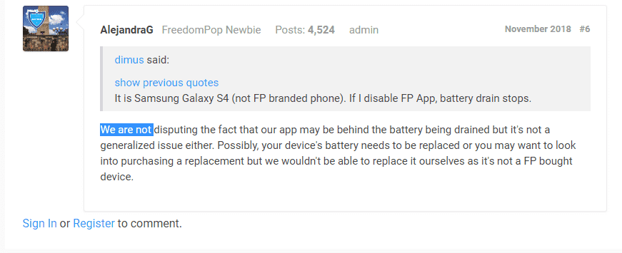 How to stop FreedomPop apps from draining the battery on my phone
