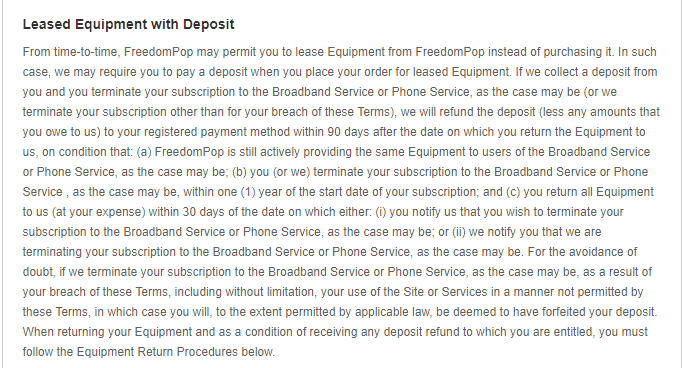 FreedomPop Leased equipment refund