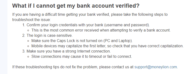Moneylion bank account verification